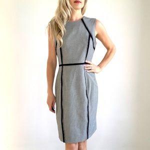 Calvin Klein Black & White Check Sheath Dress sz 8